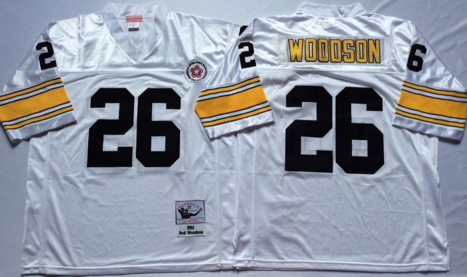 Men NFL Pittsburgh Steelers 26 Woodson white Mitchell Ness jerseys