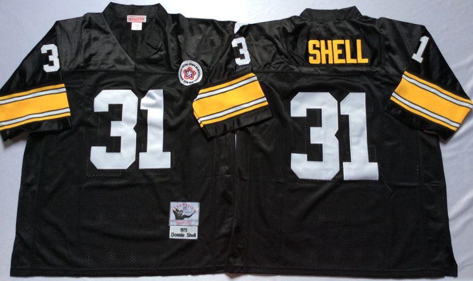 Men NFL Pittsburgh Steelers 31 Shell black Mitchell Ness jerseys