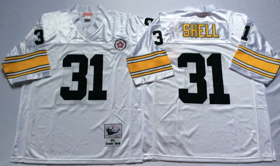 Men NFL Pittsburgh Steelers 31 Shell white Mitchell Ness jerseys