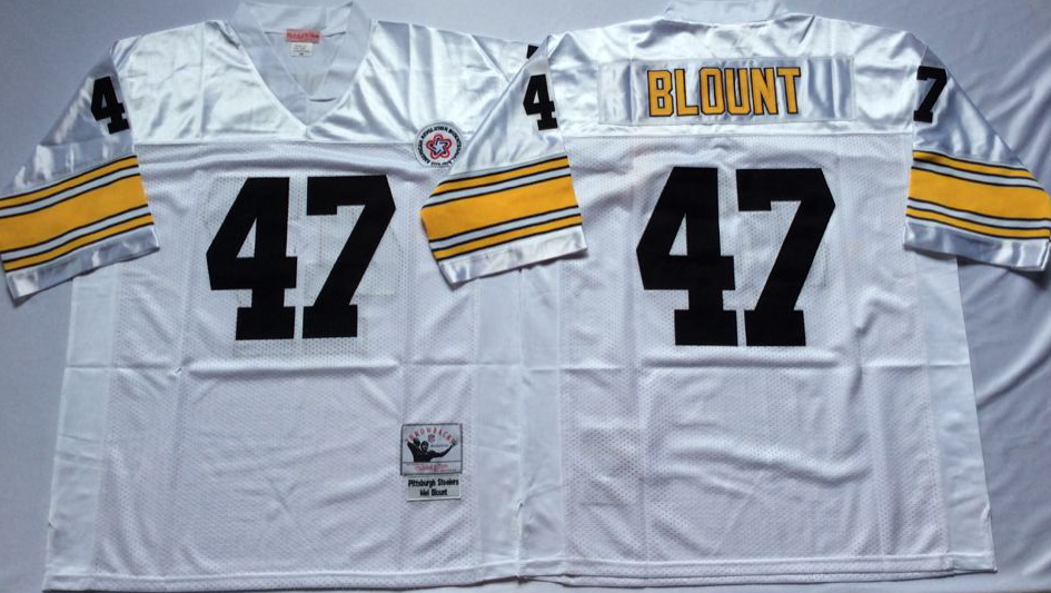 Men NFL Pittsburgh Steelers 47 BLOUNT white Mitchell Ness jerseys