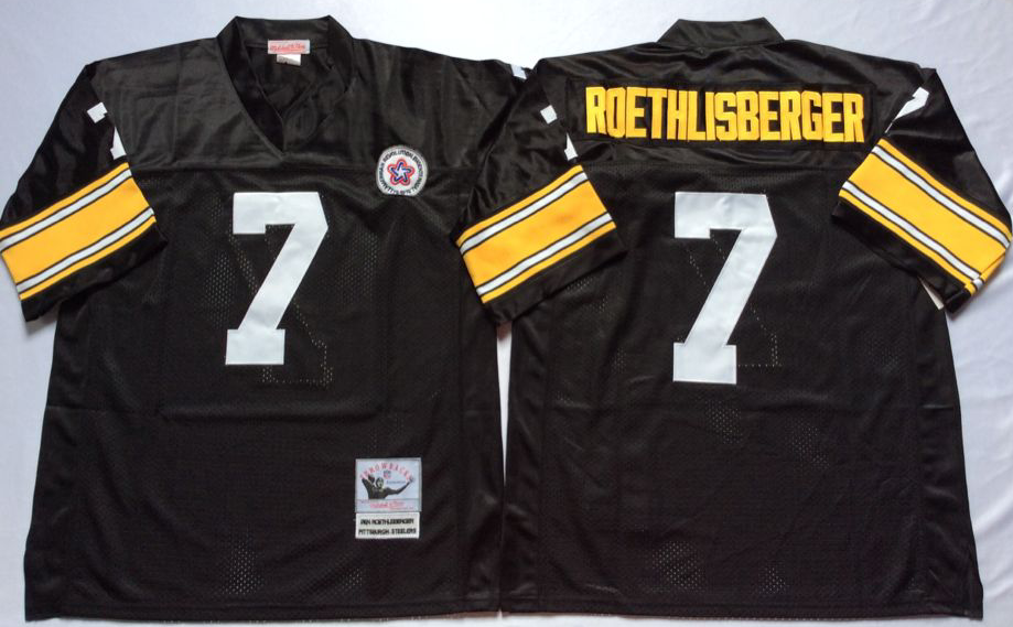 Men NFL Pittsburgh Steelers 7 Roethlisberger black Mitchell Ness jerseys
