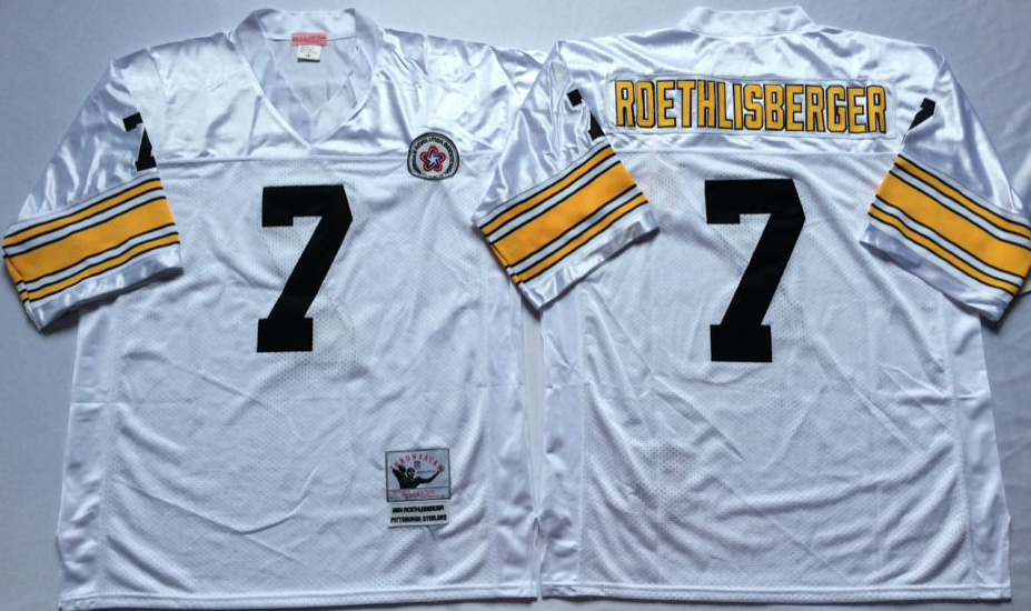Men NFL Pittsburgh Steelers 7 Roethlisberger white Mitchell Ness jerseys