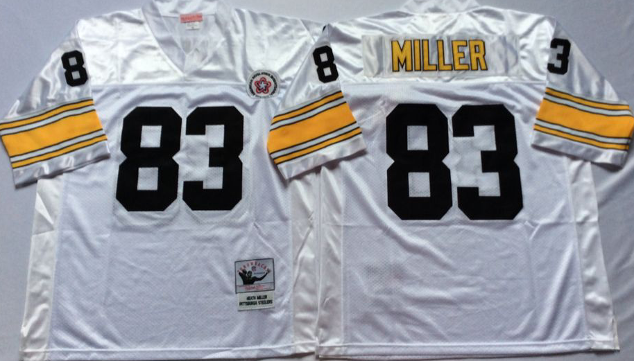 Men NFL Pittsburgh Steelers 83 Miller white Mitchell Ness jerseys