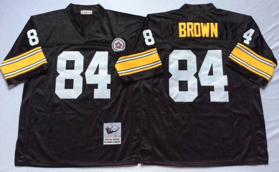 Men NFL Pittsburgh Steelers 84 Brown black Mitchell Ness jerseys