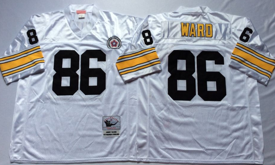 Men NFL Pittsburgh Steelers 86 Ward white Mitchell Ness jerseys