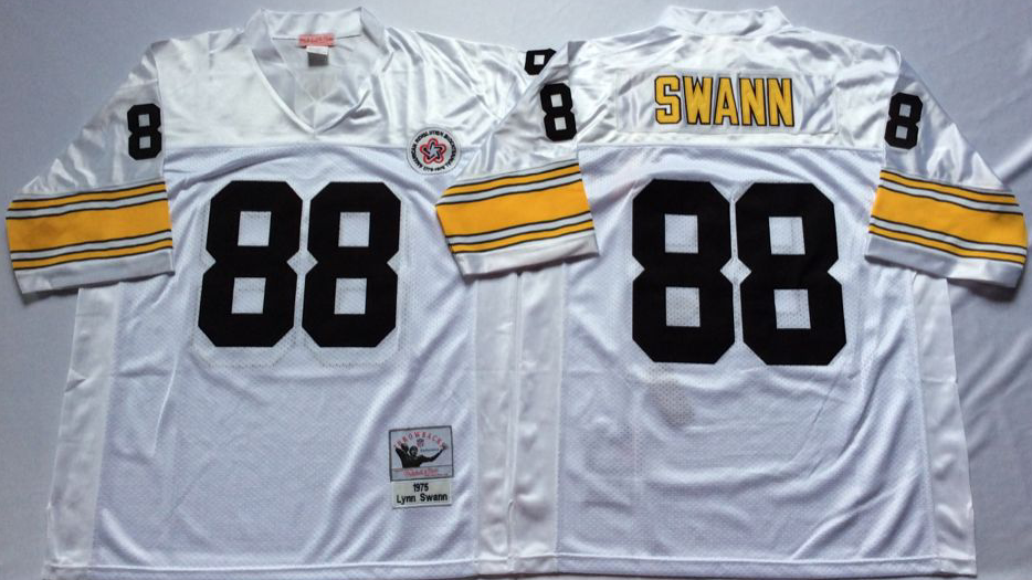 Men NFL Pittsburgh Steelers 88 Swann white Mitchell Ness jerseys
