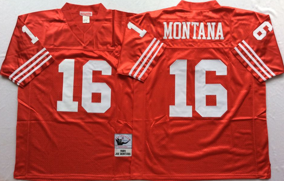 Men NFL San Francisco 49ers 16 Montana red style 2 Mitchell Ness jersey