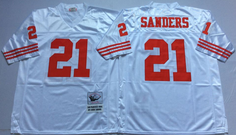 Men NFL San Francisco 49ers 21 Sanders white Mitchell Ness jersey