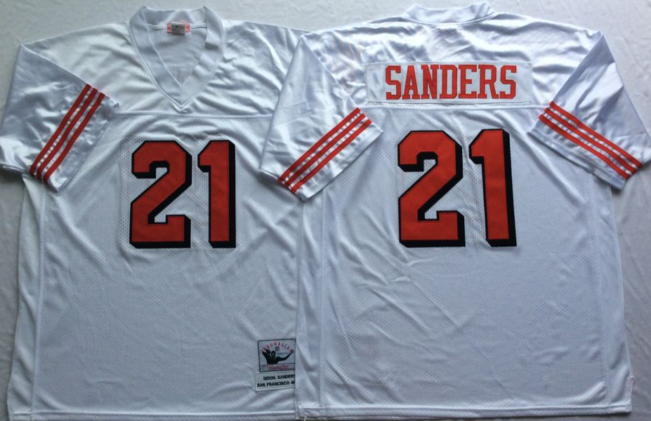 Men NFL San Francisco 49ers 21 Sanders white style 2 Mitchell Ness jersey