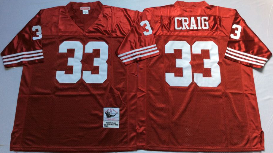 Men NFL San Francisco 49ers 33 Craig red Mitchell Ness jersey