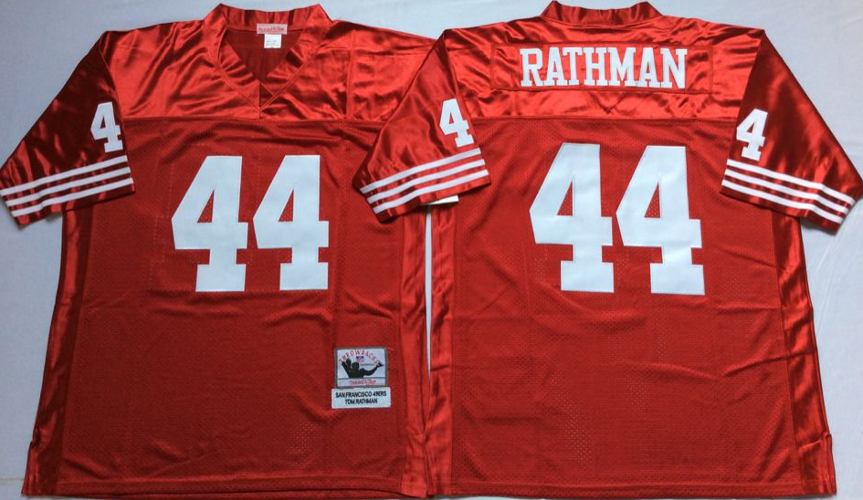Men NFL San Francisco 49ers 44 Rathman red Mitchell Ness jersey