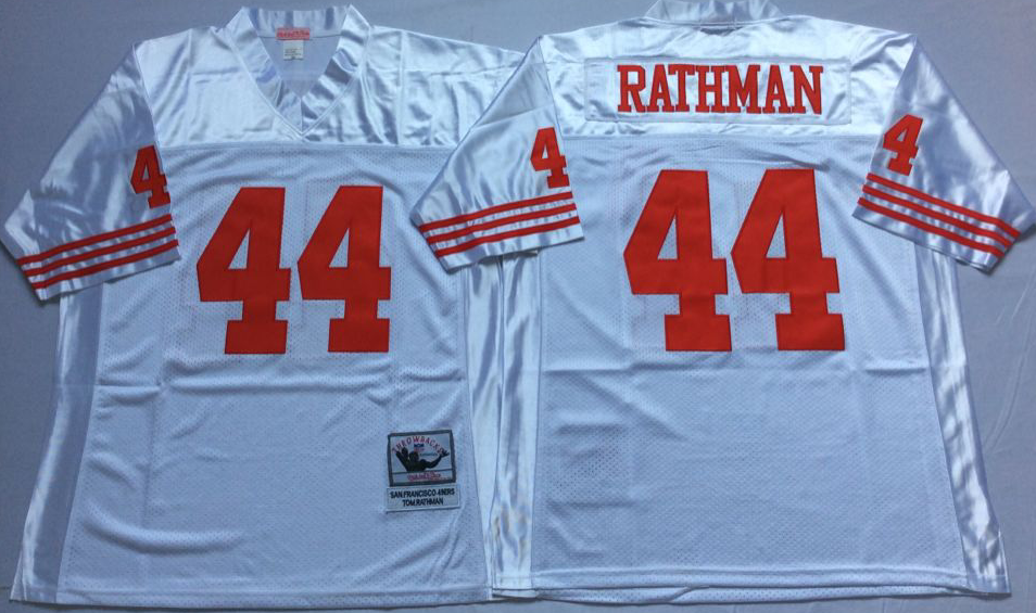 Men NFL San Francisco 49ers 44 Rathman white Mitchell Ness jersey