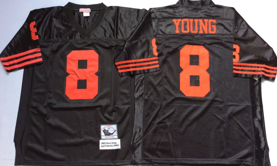 Men NFL San Francisco 49ers 8 Young black Mitchell Ness jersey