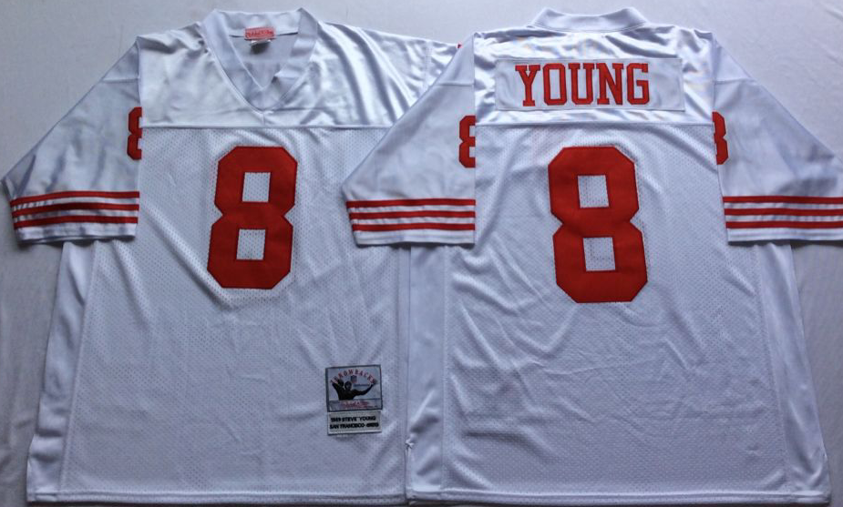 Men NFL San Francisco 49ers 8 Young white Mitchell Ness jersey