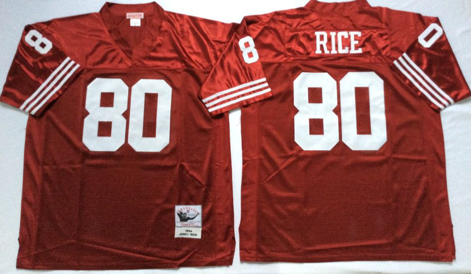 Men NFL San Francisco 49ers 80 Rice red Mitchell Ness jersey