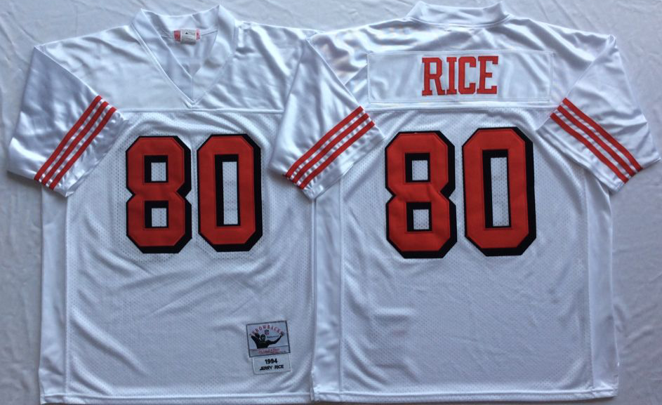 Men NFL San Francisco 49ers 80 Rice white Mitchell Ness jersey
