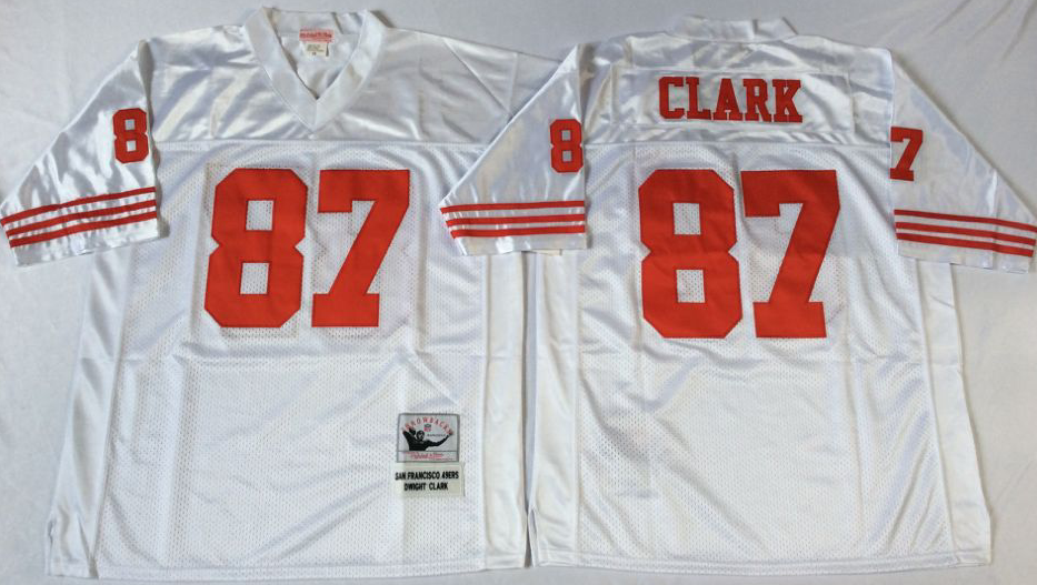 Men NFL San Francisco 49ers 87 Clark white Mitchell Ness jersey