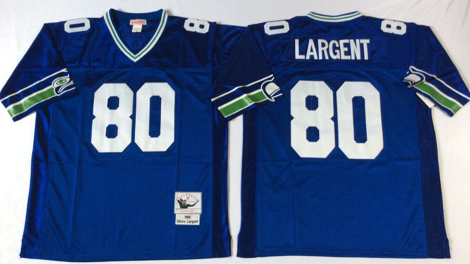 Men NFL Seattle Seahawks 80 Largent blue Mitchell Ness jerseys