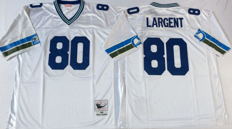 Men NFL Seattle Seahawks 80 Largent white Mitchell Ness jerseys