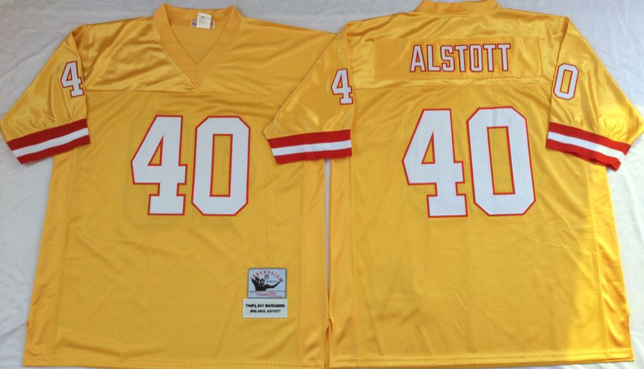 Men NFL Tampa Bay Buccaneers 40 Alstott yellow Mitchell Ness jerseys