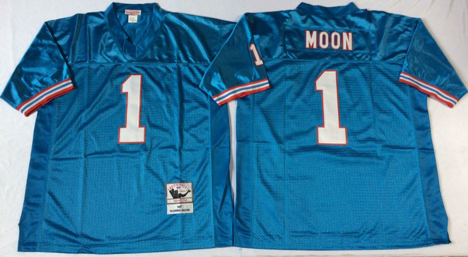 Men NFL Tennessee Oilers 1 Moon blue Mitchell Ness jerseys