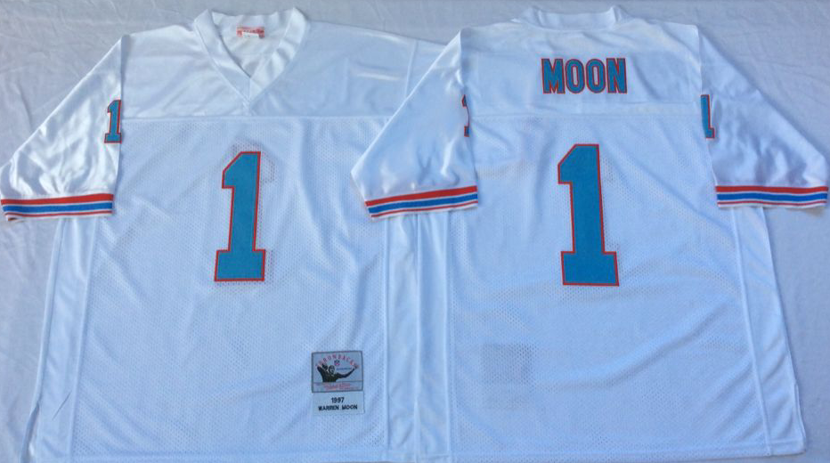 Men NFL Tennessee Oilers 1 Moon white Mitchell Ness jerseys