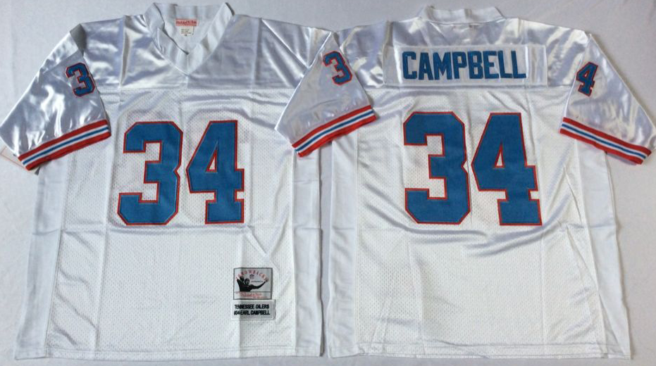 Men NFL Tennessee Oilers 34 Campbell white Mitchell Ness jerseys
