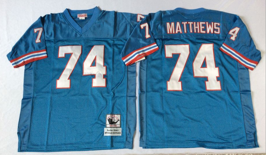 Men NFL Tennessee Oilers 74 Matthews blue Mitchell Ness jerseys
