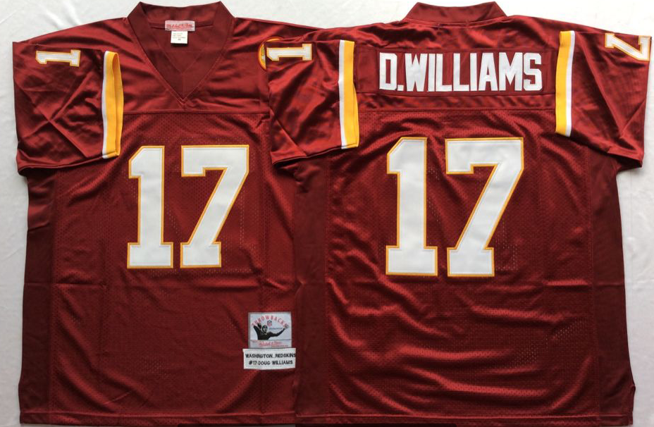 Men NFL Washington Redskins 17 D Williams red Mitchell Ness jerseys