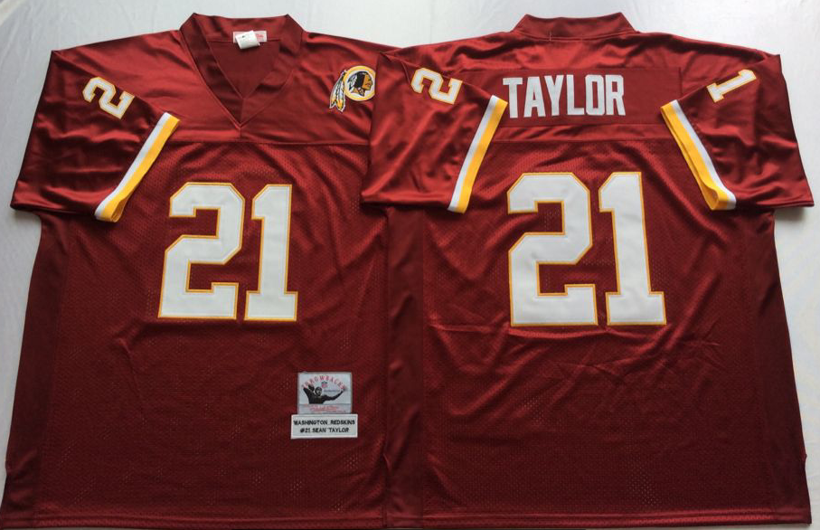 Men NFL Washington Redskins 21 Taylor red Mitchell Ness jerseys