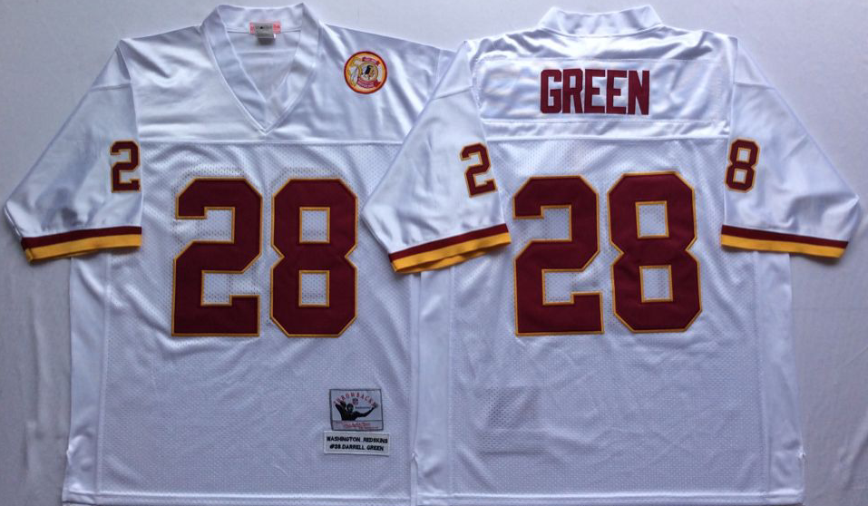 Men NFL Washington Redskins 28 Green white Mitchell Ness jerseys
