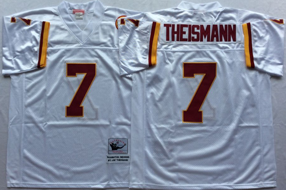 Men NFL Washington Redskins 7 Theismann white Mitchell Ness jerseys