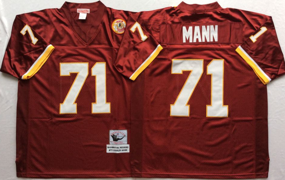 Men NFL Washington Redskins 71 Mann red Mitchell Ness jerseys