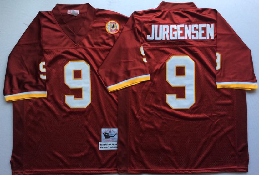 Men NFL Washington Redskins 9 Jurgensen red style 2 Mitchell Ness jerseys