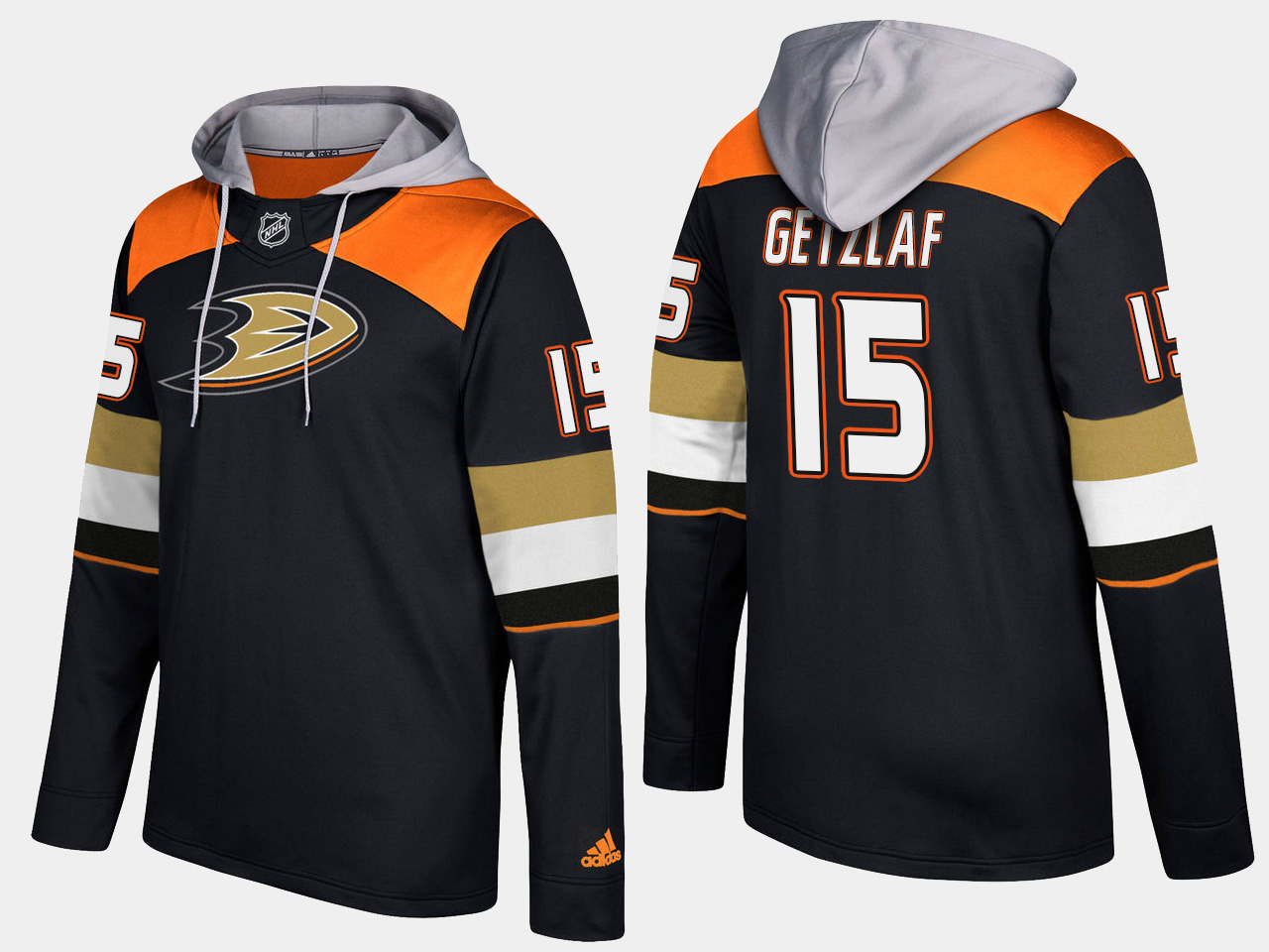 Men NHL Anaheim ducks 15 ryan getzlaf black hoodie