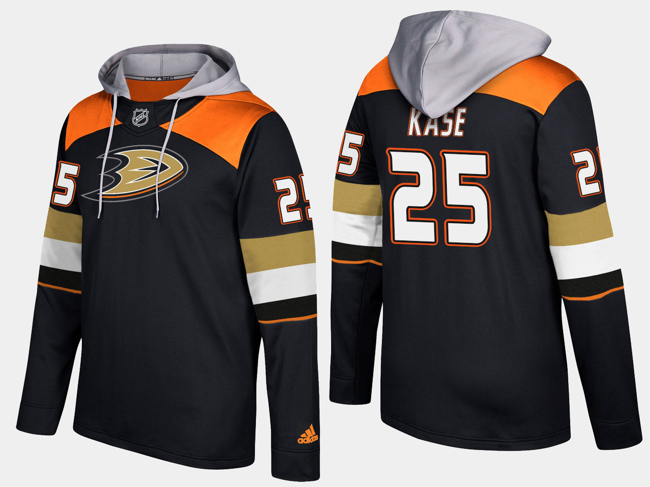 Men NHL Anaheim ducks 25 ondrej kase black hoodie