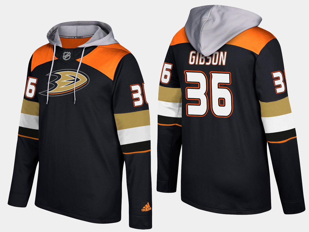 Men NHL Anaheim ducks 36 john gibson black hoodie
