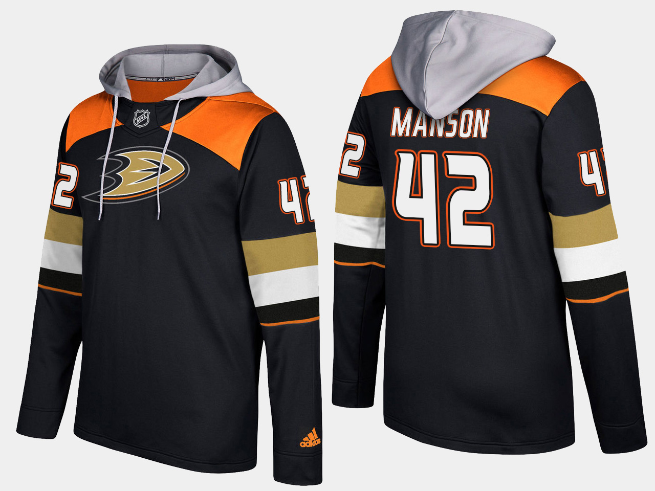 Men NHL Anaheim ducks 42 josh manson black hoodie