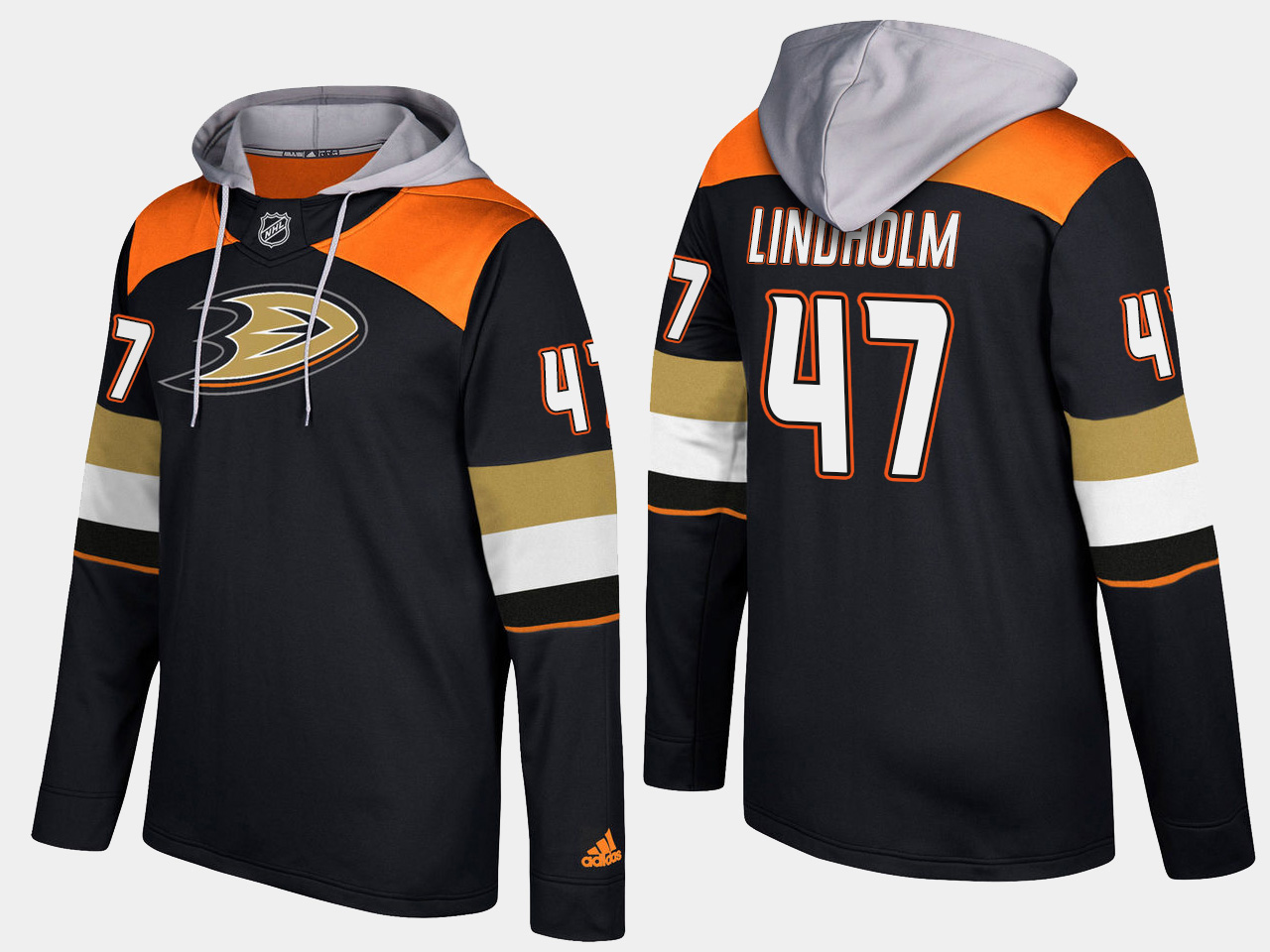 Men NHL Anaheim ducks 47 hampus lindholm black hoodie