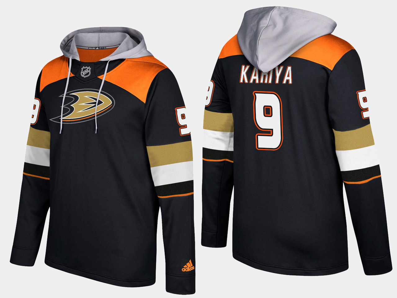 Men NHL Anaheim ducks 9 retired paul kariya black hoodie