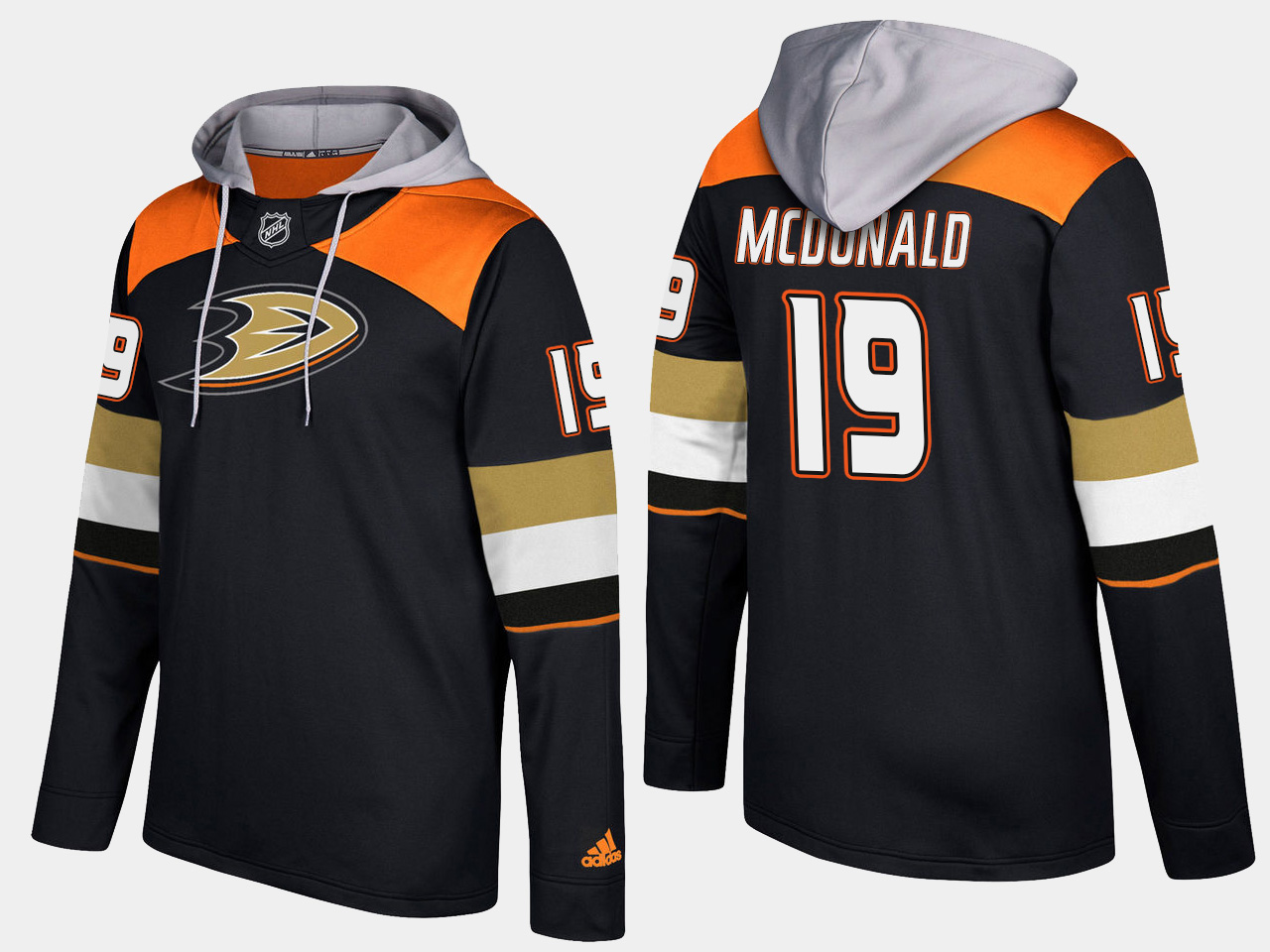 Men NHL Anaheim ducks retired 19 andy mcdonald black hoodie