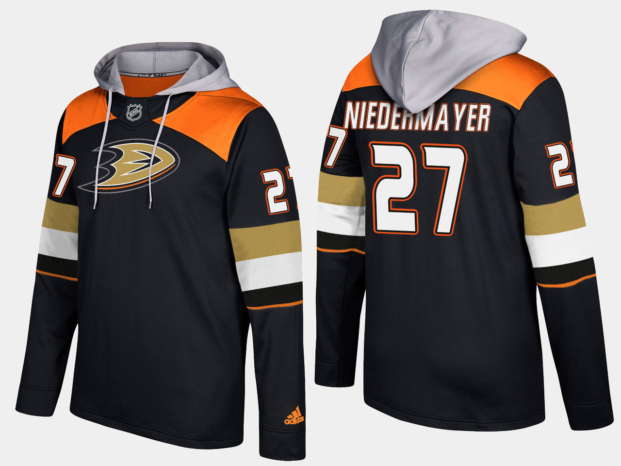 Men NHL Anaheim ducks retired 27 scott niedermayer black hoodie
