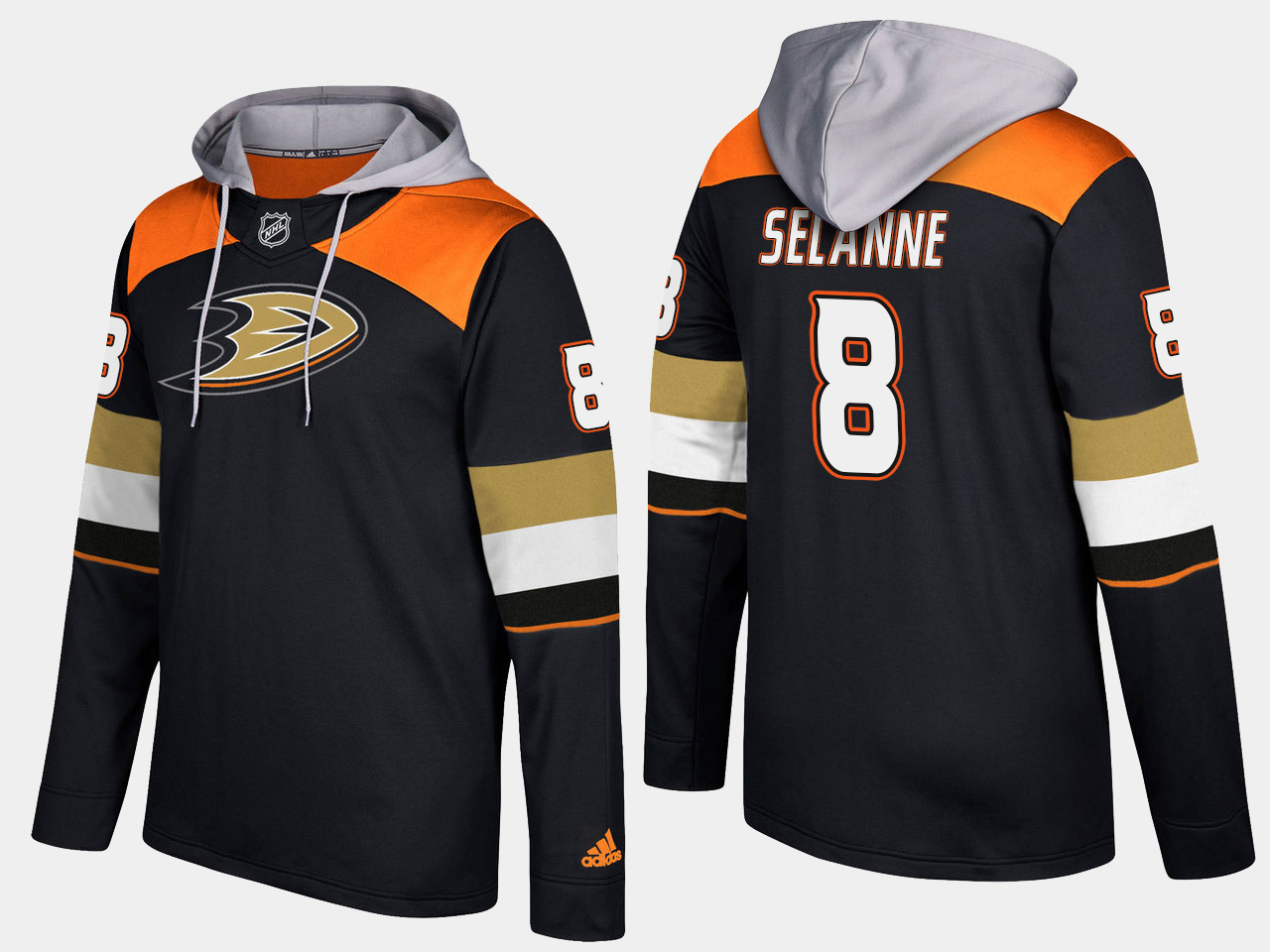 Men NHL Anaheim ducks retired 8 teemu selanne black hoodie