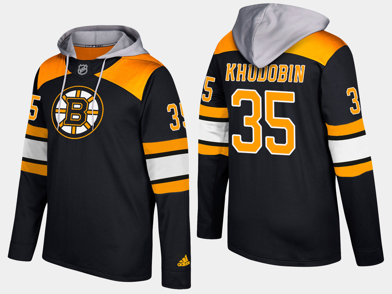 Men NHL Boston bruins 35 anton khudobin black hoodie