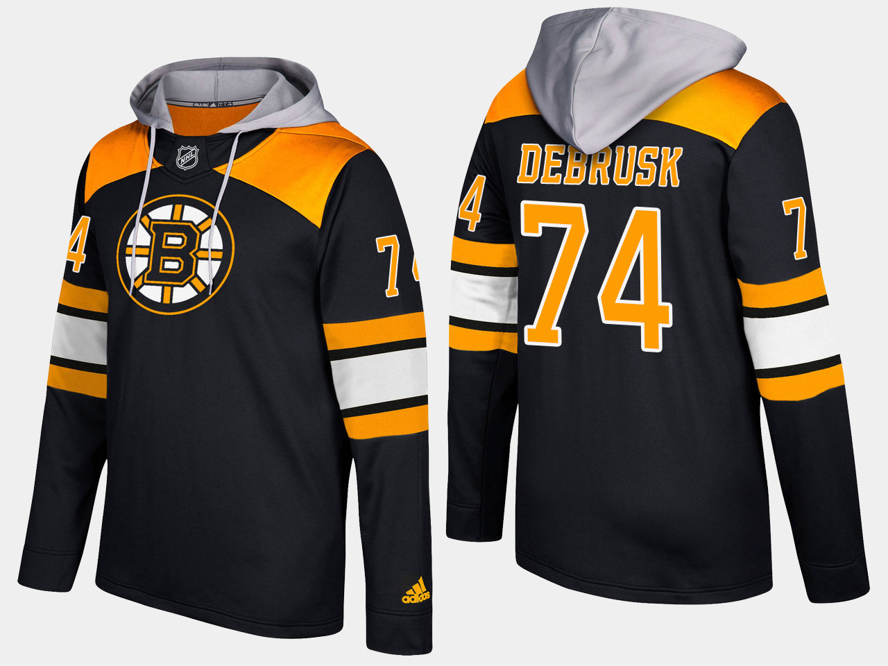 Men NHL Boston bruins 74 jake debrusk black hoodie