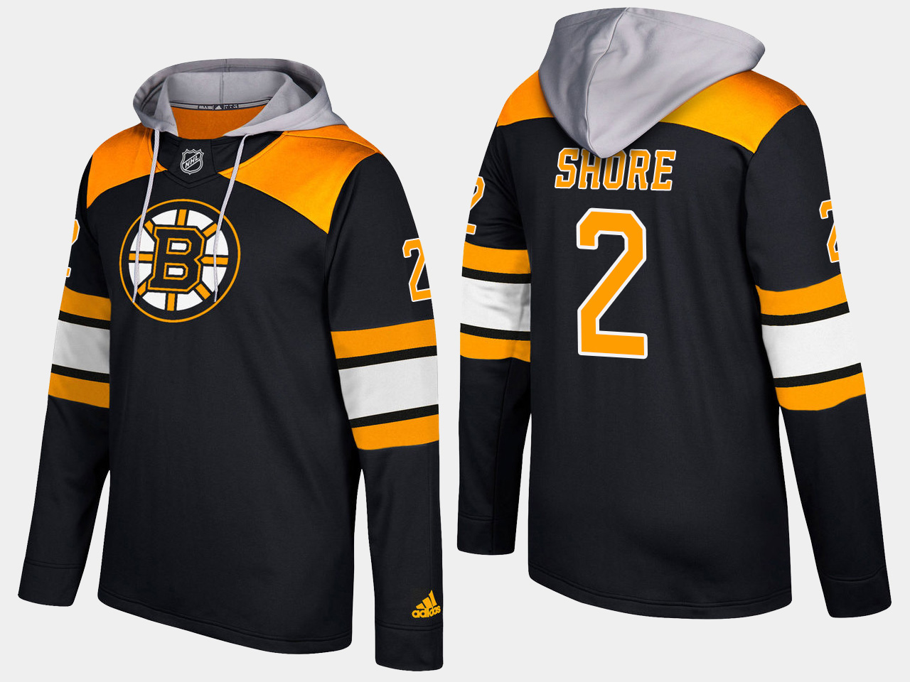 Men NHL Boston bruins retired 2 eddie shore black hoodie
