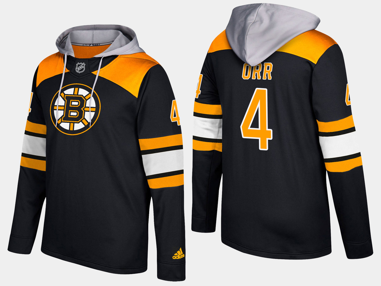 Men NHL Boston bruins retired 4 bobby orr black hoodie