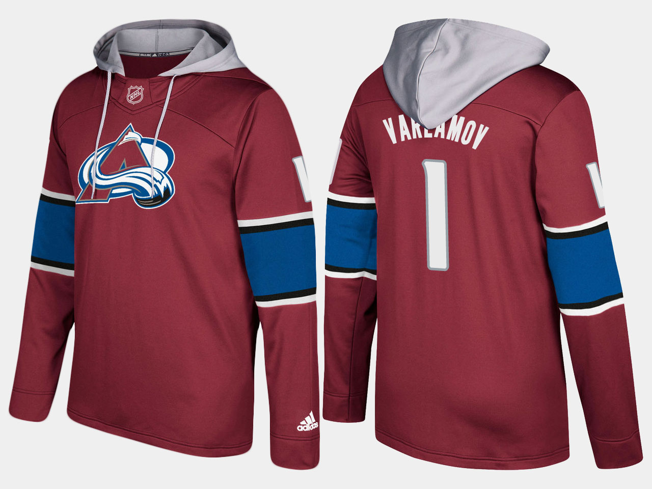 Men NHL Colorado avalanche 1 semyon varlamov burgundy hoodie