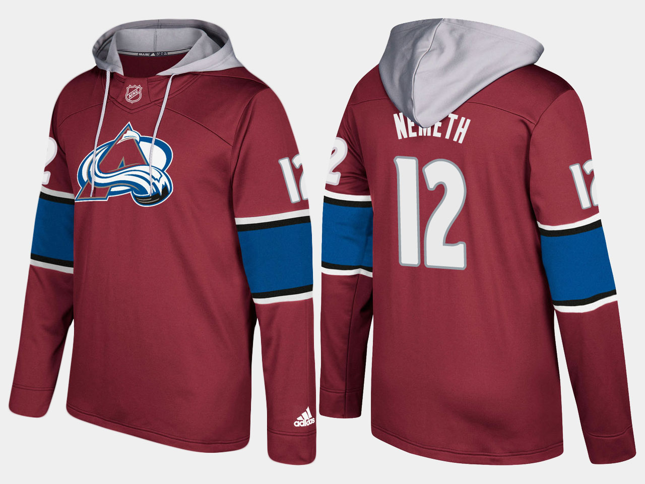 Men NHL Colorado avalanche 12 patrik nemeth burgundy hoodie