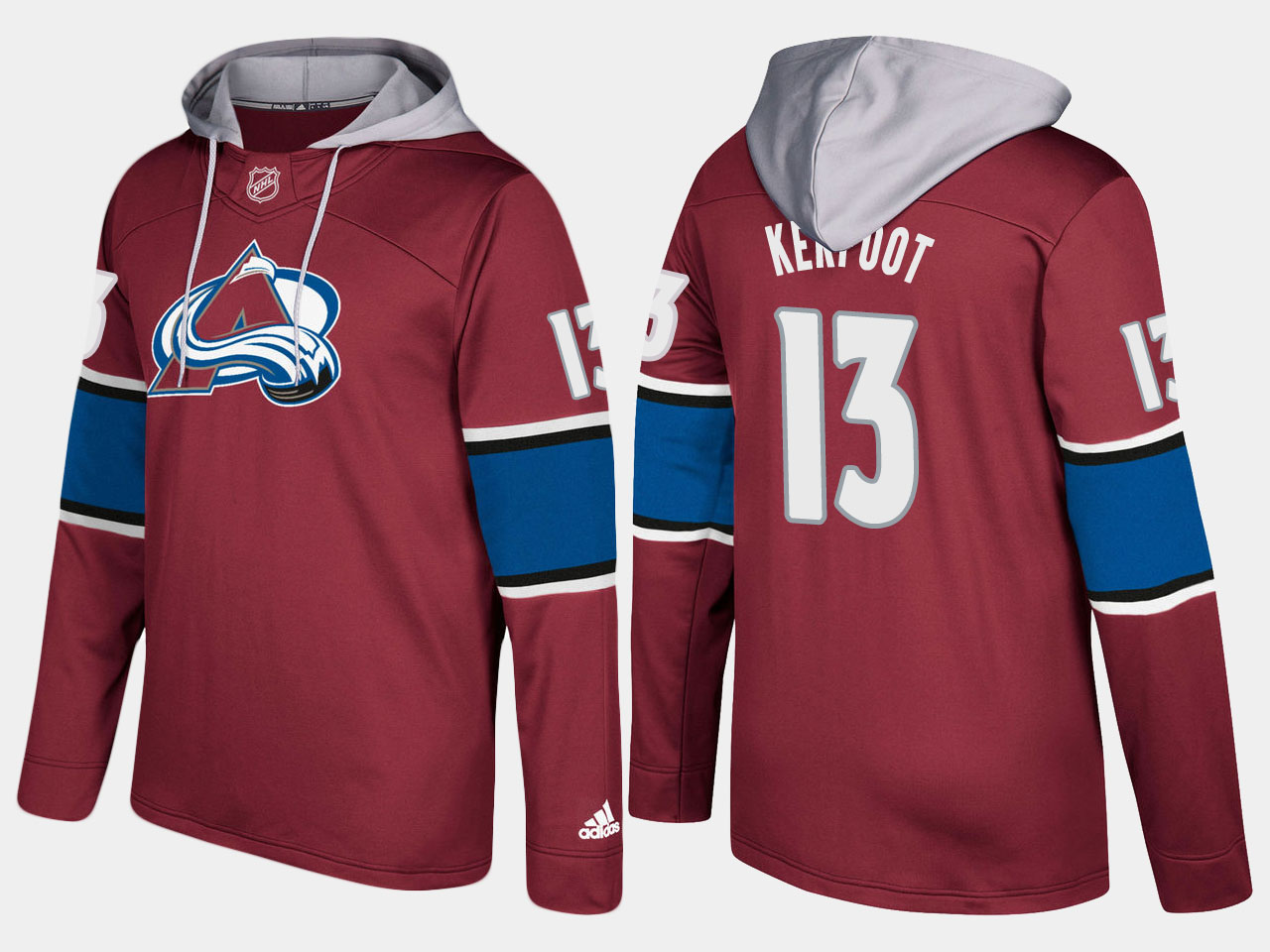 Men NHL Colorado avalanche 13 alexander kerfoot burgundy hoodie